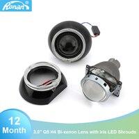 RONAN Car Styling H4 2PCS 3.0 inch Full Metal Bi Xenon Projector Lens for Headlight LED Angel Eyes with black masks