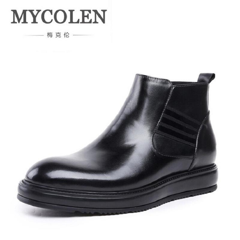 MYCOLEN Brand 2017 Quality Genuine Leather Winter Boots Men British Style Shoes Men Casual Handmade Round Toe Leather Boots hot sale mens italian style flat shoes genuine leather handmade men casual flats top quality oxford shoes men leather shoes