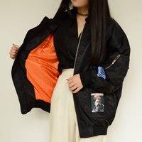 Spring Jacket Autumn Coats Long Sleeve Patch Design Fashion Slim Novelty Polyester Women Bomber Jacket