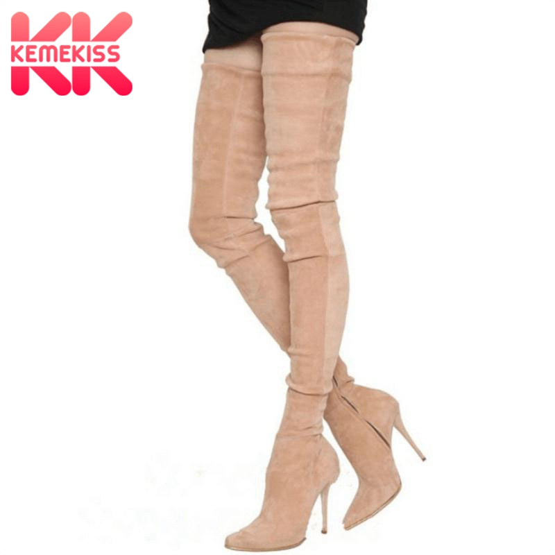 KemeKiss Plus Size 33-48 Fashion Women Over The Knee High Boots Zipper Pointed Toe High Heel Boots Sexy Club Ladies FootwearKemeKiss Plus Size 33-48 Fashion Women Over The Knee High Boots Zipper Pointed Toe High Heel Boots Sexy Club Ladies Footwear