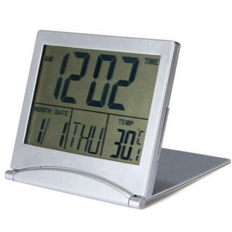 New 1Pc Portable Mini Travel Digital LCD Display Desk Alarm Snooze Clock Calendar Date Time Thermometer Home Supplies