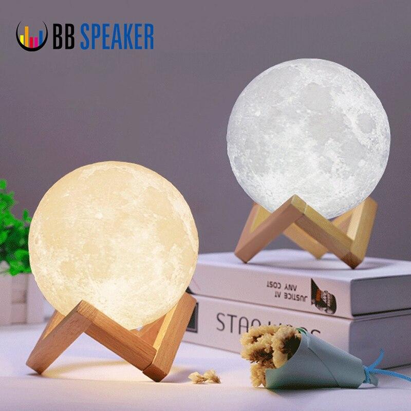 BB динамик Перезаряжаемые Луна лампы 2 цвета лунный свет сенсорный выключатель 3d печатных USB Led Украшения в спальню творческий романтический ...