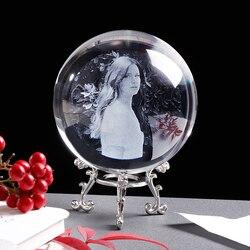 Personalizado de vidro foto bola personalizado cristal imagem esfera globo decoração para casa acessórios do bebê foto presente para as mulheres