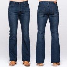 GRG Mens Slim אתחול לחתוך ג ינס קלאסי למתוח ג ינס מעט התלקחות עמוק כחול ג ינס אופנה למתוח מכנסיים