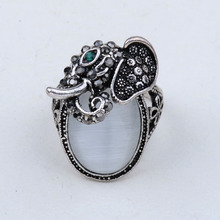 MYTHIC AGE Bohe Vintage Antique Silver Color Crystal Elephant Resin Opal Cocktail Ring Jewelry For Women Girls US Size 7 8 9