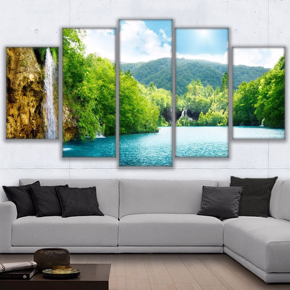 Wall Art Framed Pictures HD Prints Canvas Paintings 5 Pieces River ...