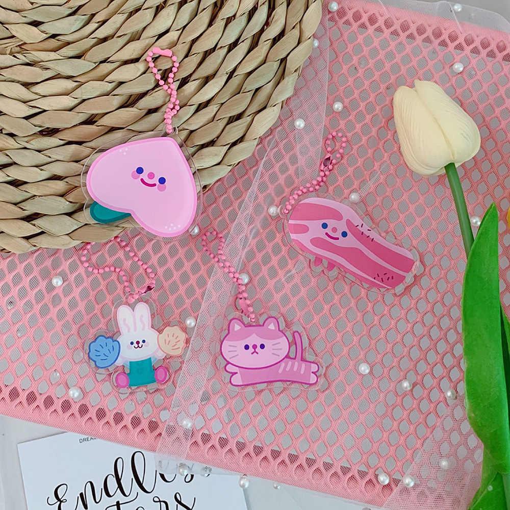 Llaveros lindos del oso del gato rosado de la historieta para las mujeres y las muchachas del coche del bolso del llavero del melocotón divertido llaveros de la joyería de la manera del regalo del llavero