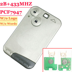 Free shipping 2 Button 433MHZ  pcf7947 chip remote card  for Renault Laguna with grey blade without logo  (1piece)