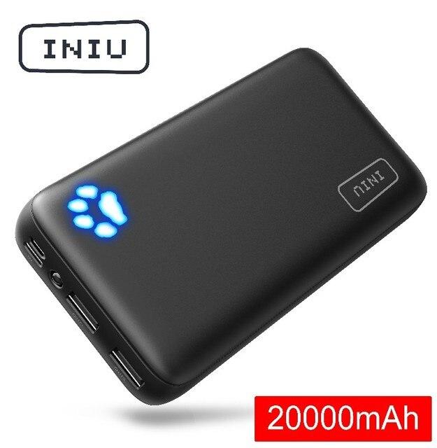 INIU 20000mAh power Bank 2.4A светодиодный дисплей 2 Портативное зарядное usb-устройство power bank для Xiaomi Mi телефона внешний аккумулятор