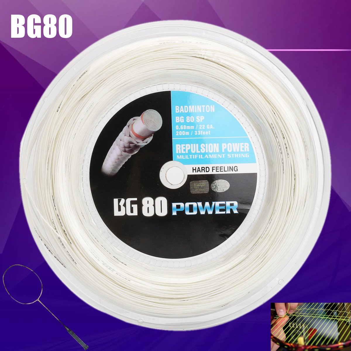 BG80 200m Durable Badminton Elastic Racquet String Coil High Polymer Reel White String
