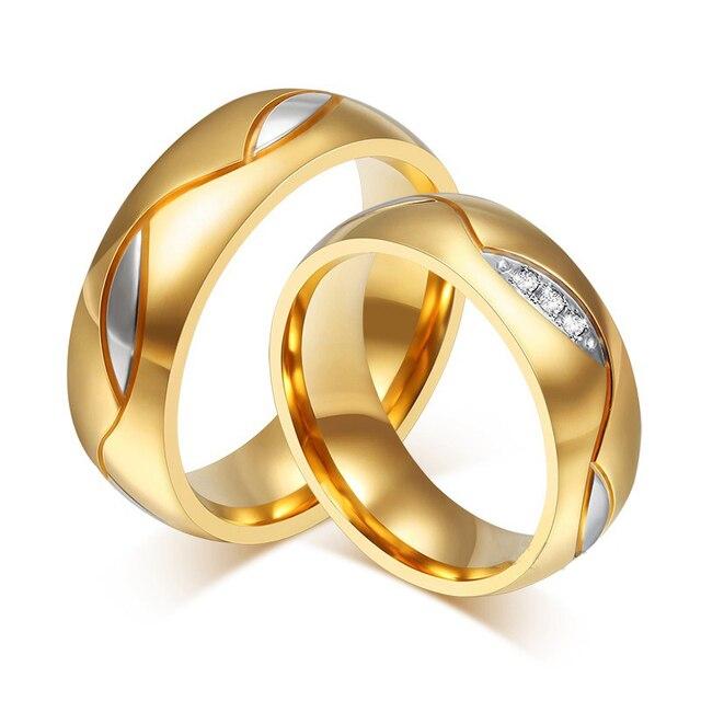 """זוג נירוסטה טבעות קריסטל 6 מ""""מ אוהבי טבעת זהב צבע חתונה להקות אירוסין יום נישואים תכשיטי Aneis מתנות"""