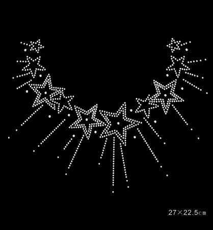 2pcs/lo star sticker rhinestone iron on transfers designs strass iron hot fix rhinestone motif designs applique for sweater