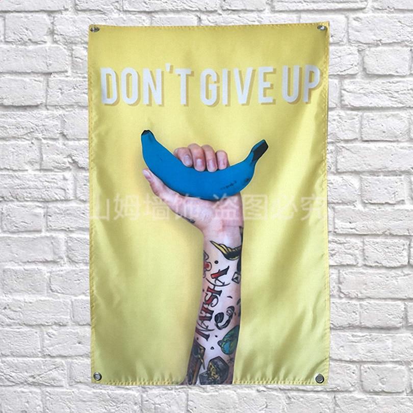 """""""niet Geven Up"""" Doek Vlag Banners Muursticker Bar Wijnkelder Biljart Hall Studio Thema Muur Opknoping Woondecoratie Gunstig Voor EssentiëLe Medulla"""