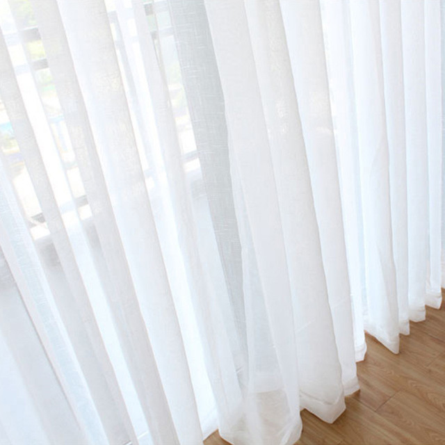 luxury valances white sheer curtains voile linen curtains for living room elegant modern solid bedroom kitchen