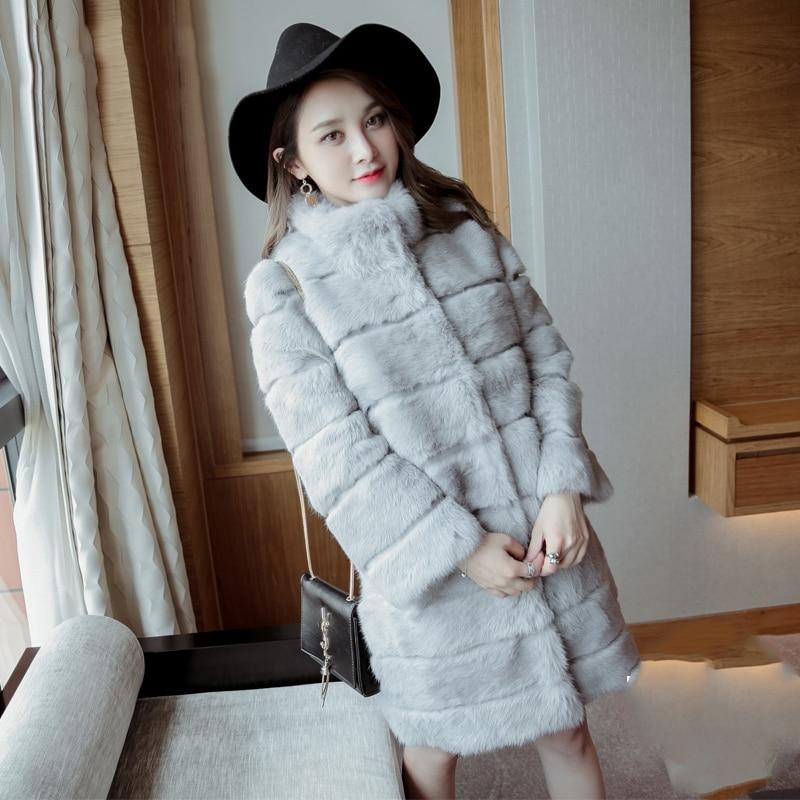 Long 90 cm Plus Size M - 6XL Wave Cut Trim High Quality Whole Skin Natural Rabbit Fur Coats Outerwear Women Real Fur Jackets