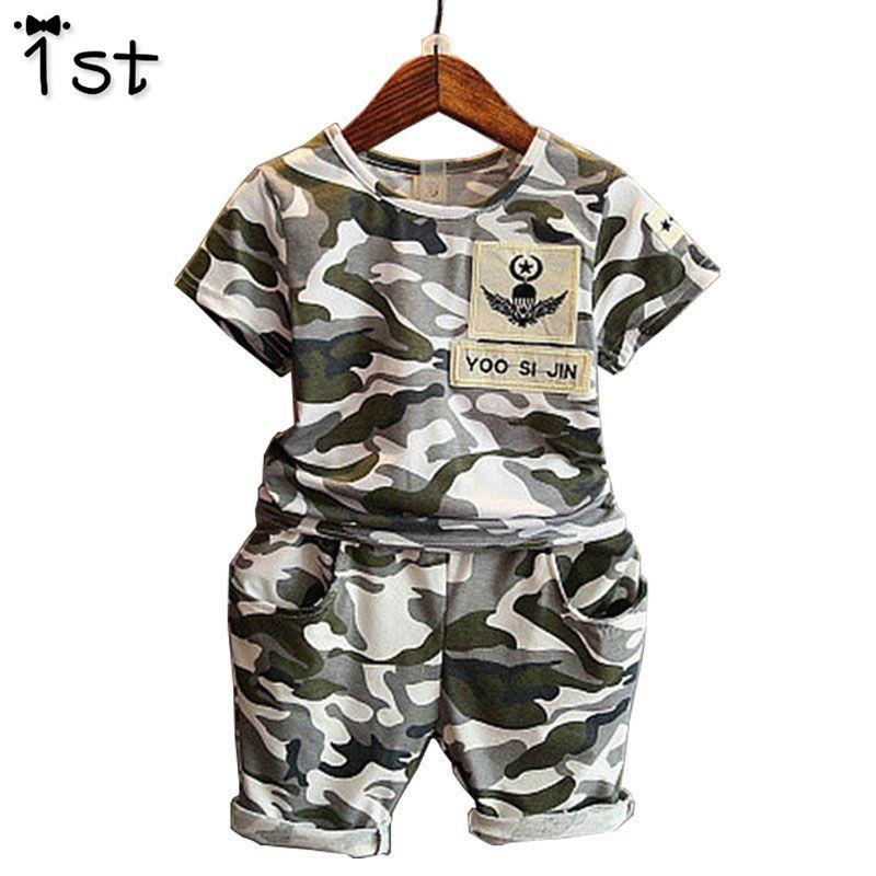1st 2018 Children Fashion Summer Baby Boys Clothing Sets 2pcs Camouflage Sport Suit Clothes Sets Boys Girls Set 2-7Y