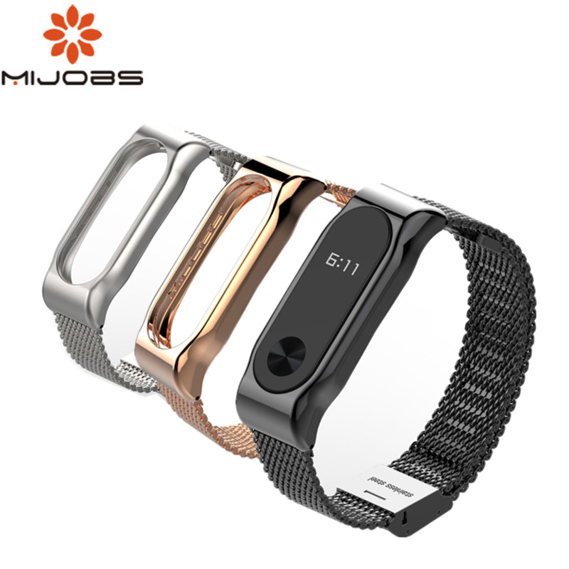 Mijobs Mi Band 2 Strap Metal Bracelet For Xiaomi Mi Band 2 Screwless Stainless Steel Bracelet Wristbands Replace Accessories metal strap for mi band xiaomi wristband replace accessories screwless stainless steel bracelet for mi band 2