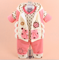 New 2015 Autumn Baby Boy Baby Girl Winter Warm Cartoon Vest Clothing Set Infant Winter Warm