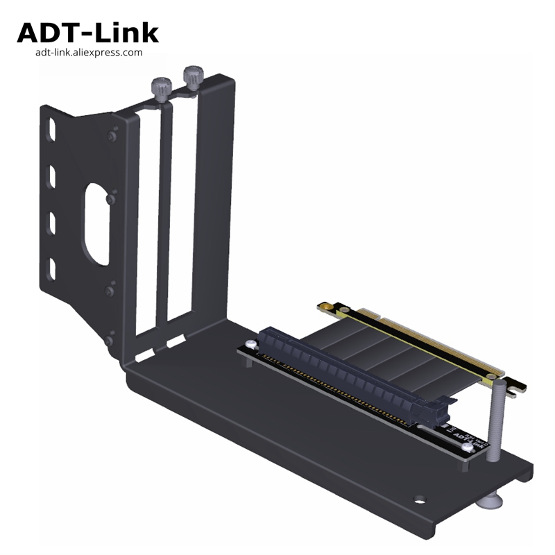 ADT-Link Graphics Cards Vertical Bracket PCIe 3 0 x16 graphics video card to PCIe 3 0 x16 slot extension cable for ATX PC-Case