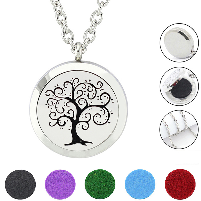 Tree Of Life Pendant locket Necklace 316L Stainless Steel Aromatherapy Essential Oil Diffuser Necklace (free felt pads & chain)