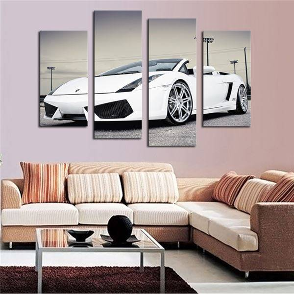 4 Pcs (No Frame)White Sports Car Wall Art painting Home Decoration Living Room Canvas Print Painting on canvas Wall picture -344