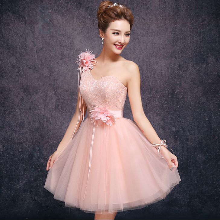 short puffy peach vintage party tulle pageant ball gowns prom dress ...