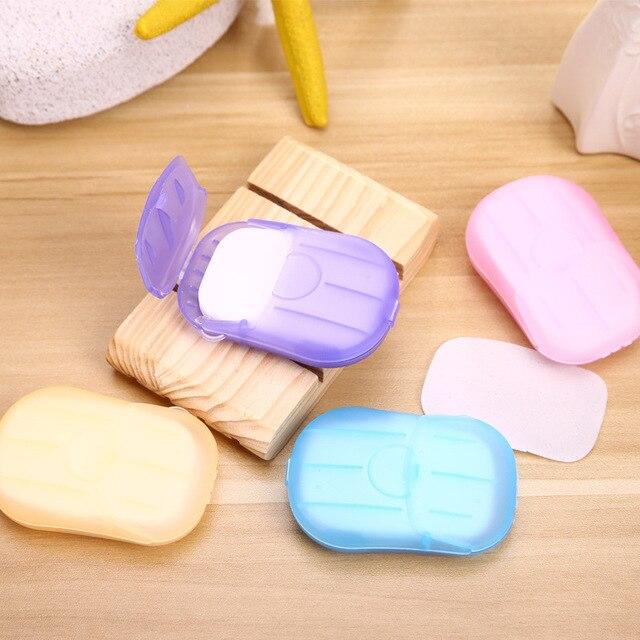 Viajes al aire libre de jabón de lavado de manos baño limpio perfumado trozo hojas 20 piezas desechables caja de jabón Mini portátil de jabón