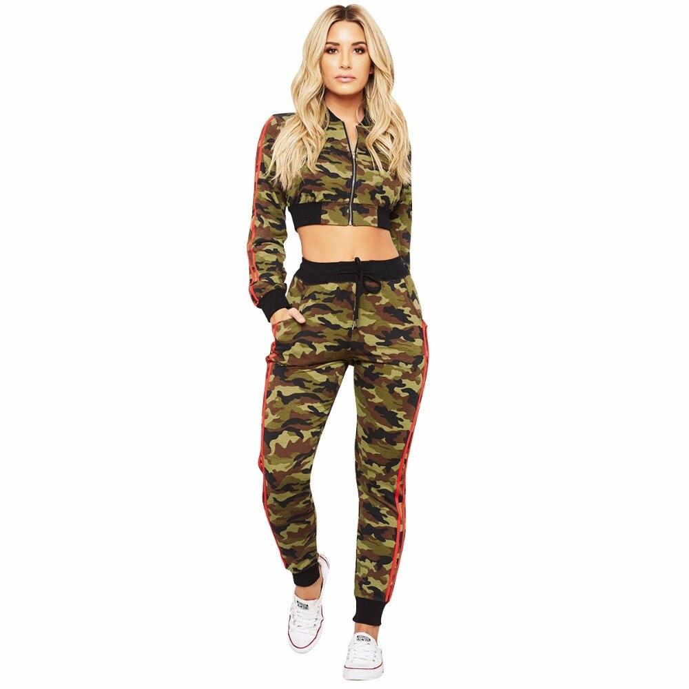 6b1bb5b351f1 2018 New fashion two piece women jumpsuit long sleeve camouflage print  bodysuit combinaison femme A7552L