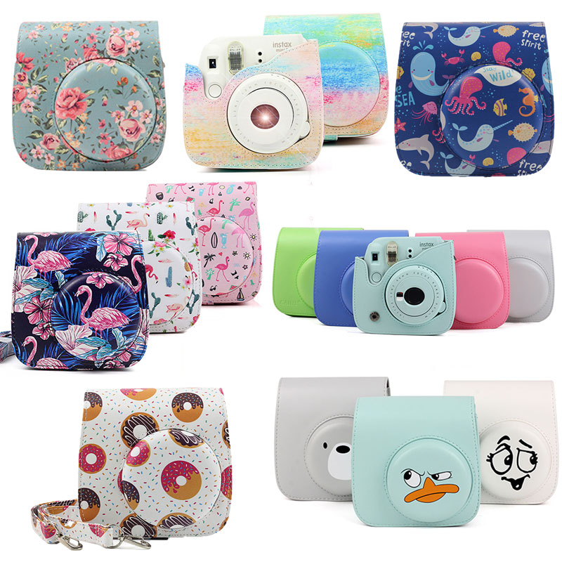 Fujifilm Instax Mini Camera Case Bag PU Leather Cover with Shoulder Strap For Instax Mini 9 Mini 8 Mini 8  Instant Film Cameras