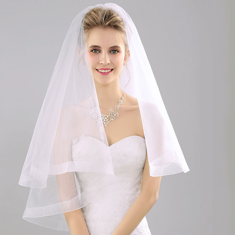 Two Layer Bridal Veil Short 2016 Wedding Veil For Bride Gowns With Hair Comb Wedding Accessories ...