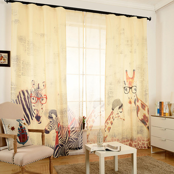 modern elegant luxury living room curtains drapes sets cotton and linen 3d cartoon window curtains for bedroom cortinas 2017