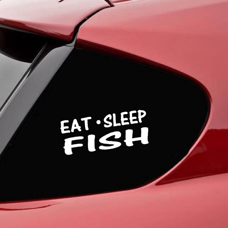 eat sleep fish repeat sticker vinyl funny car decal