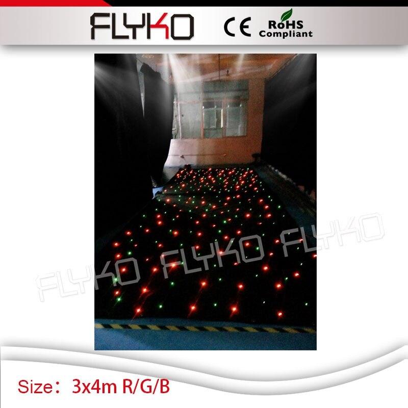 Dj оборудование Star Light 3*4 м R/G/B одного цвета светодиодов партии огни, используемые ночной клуб звезда занавес