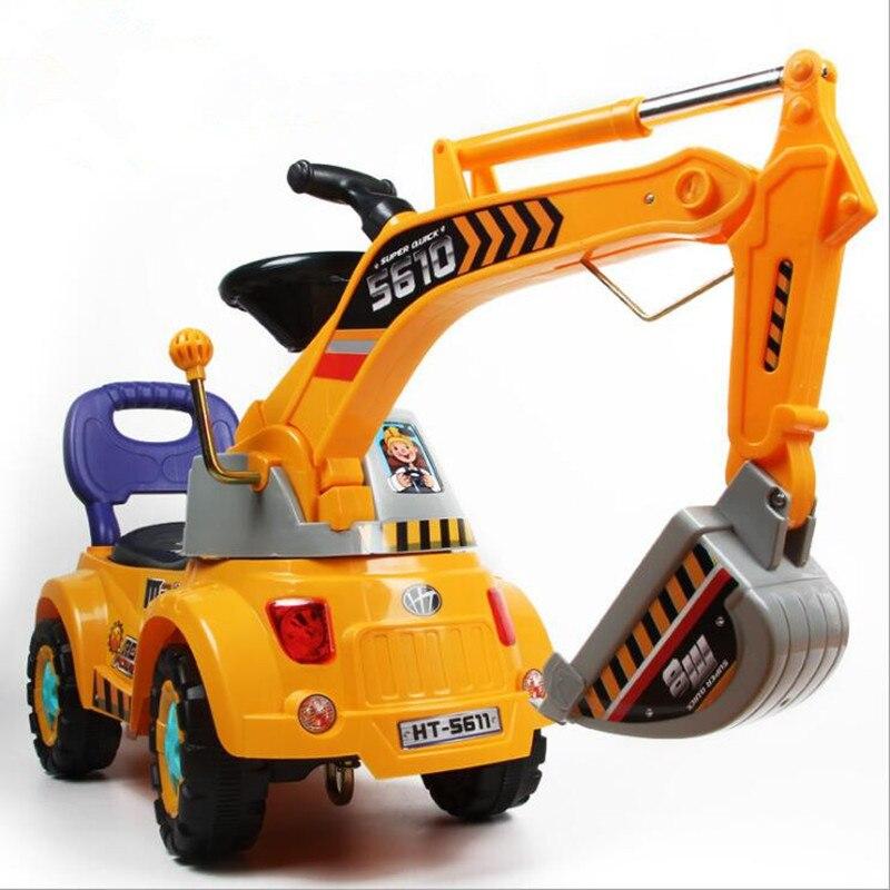 New Excavator Truck Toy Factory Wholesale Large Excavator Stroller Baby Car Bebek Arabasi Baby Walker Ride on Car Kids Toys Gift