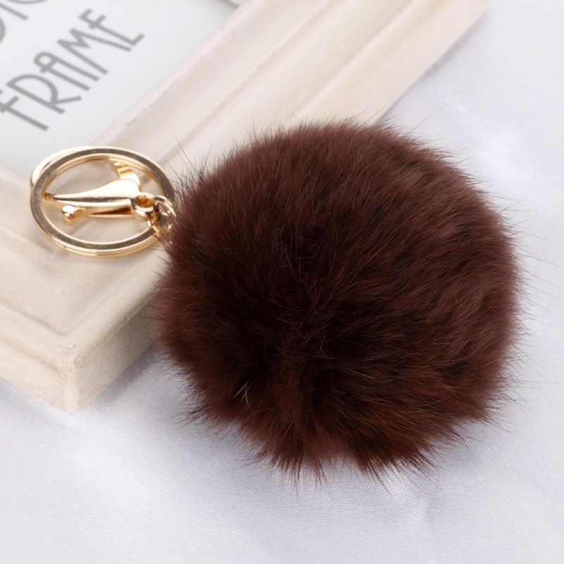 Alta qualidade 15 cores de pele de coelho chaveiro bola pingente pompom para carro bolsa chaveiro metal ouro charme chaveiro para as mulheres