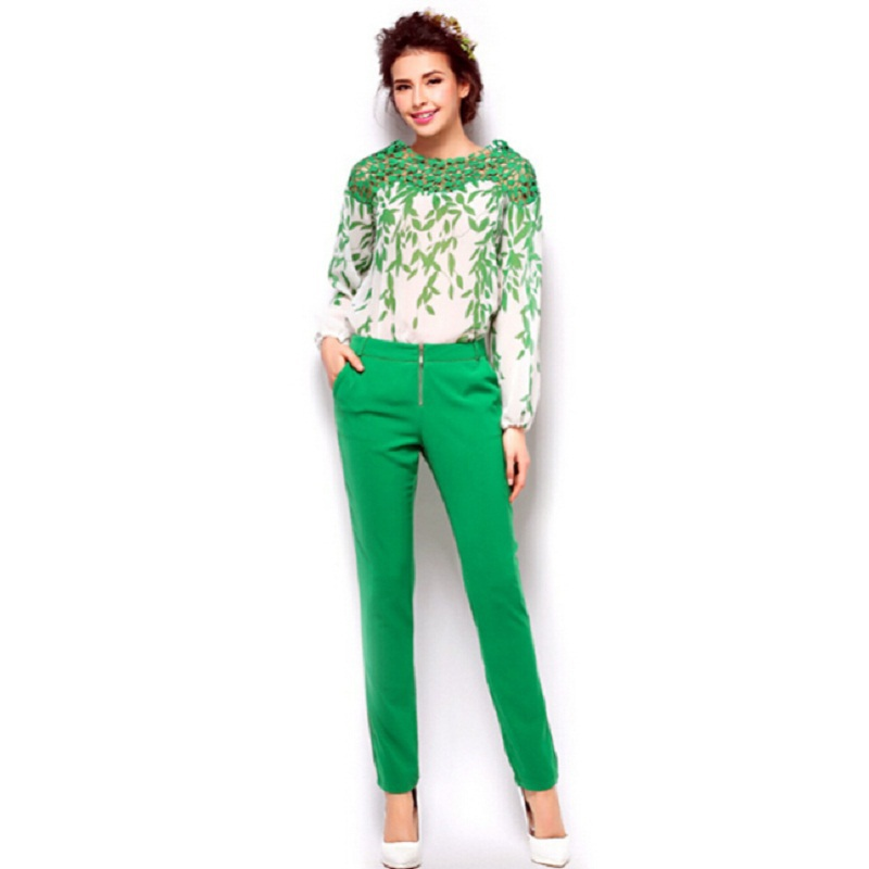 Fashion Chiffon Blouse +Pencil Pants Plus Size Women Slim Suit Clothing 2pcs /Set Women Pant And Top Wholesale &Retail