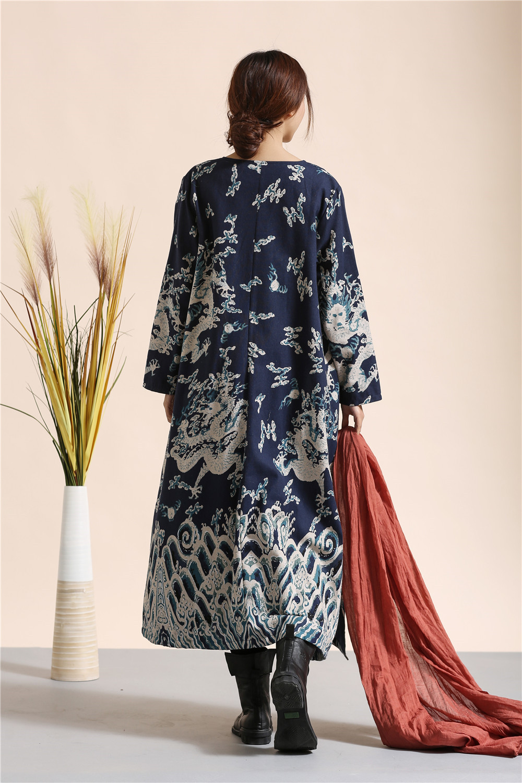Femmes Tranchée Littéraire Lin Longues Hiver Coton Coupe rouge Vintage Bleu Manches Robes Style Robe vent Casual À 5FnpR