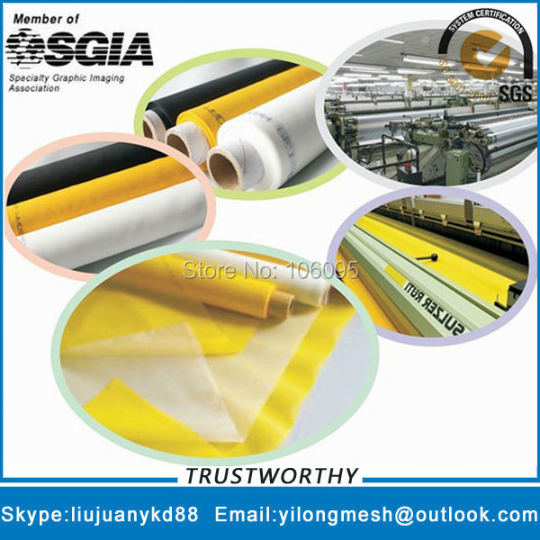 77T/195mesh 55um 127cm Yellow 25meters Polyester Bolting Cloth Silk Screen Mesh Polyester