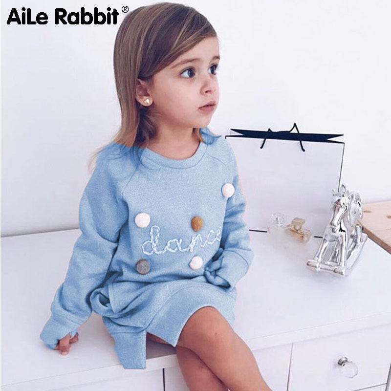 AiLe Rabbit 2018 Autumn Winter Cartoon Letter Embroidery Sweatshirt Girl Fashion Long Hoodie Dress Pullover Moletom Feminina