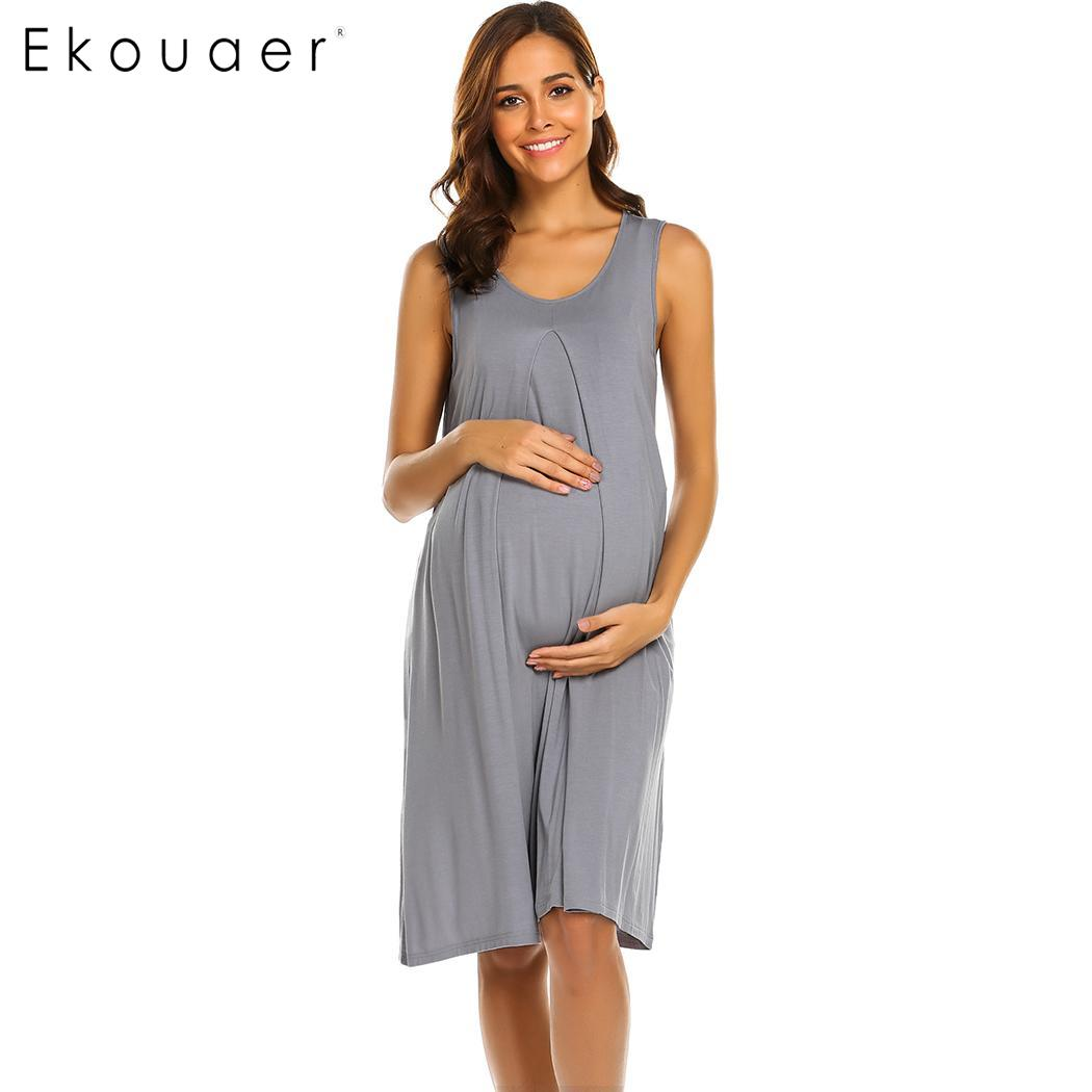 Ekouaer Loose O Neck Sleeveless Women Nursing Breastfeeding Nightgown Dress Sleepwear