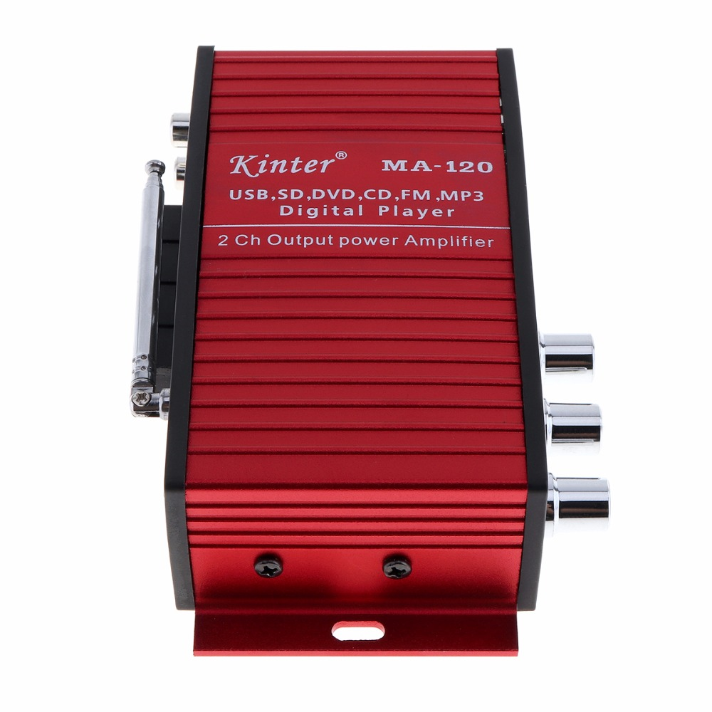 Kinter MA 120 12V 2CH HIFI Car Power Amplifier FM Radio Stereo Music Player Support USB SD DVD MP3 Input for Auto Motorcycle in Stereo Amplifiers from Automobiles Motorcycles