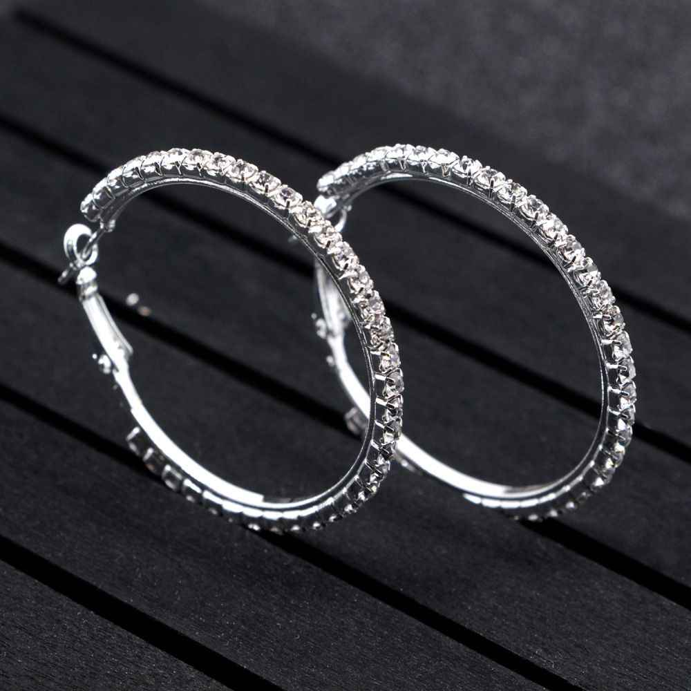 Big Sliver Crystal Hoop Earrings Large Classic Full Rhinestone Circle Earring Women Party Wives CZ Hiphop Round Trendy Brinco