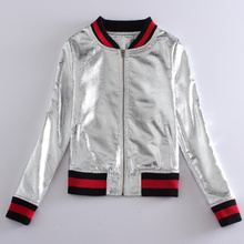 high qualiy 2016 spring and autumn jacket women new fashion stand collar uniform Silver PU bomber jacket coat chaquetas mujer