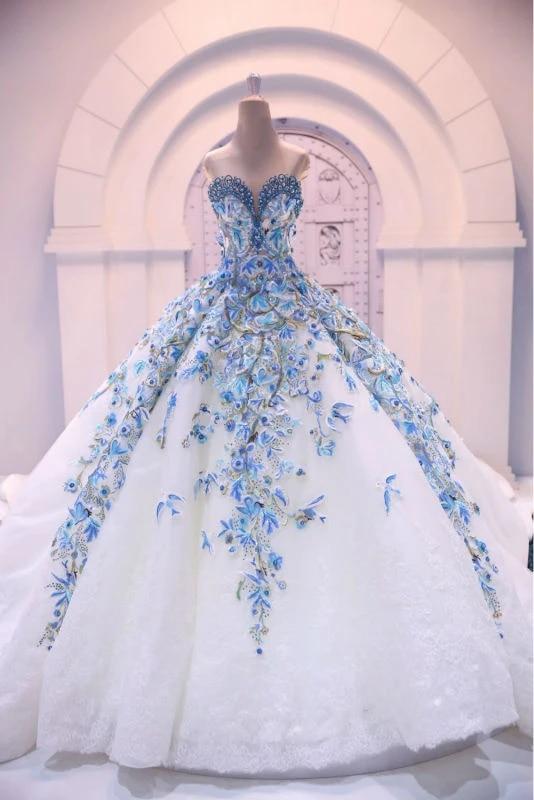Romantic Big Ball Gown Wedding Dress Mewah Biru Pengantin Gaun Bunga Putri Modis Dubai Muslim Gowns Vestido Longo Big Ball Gown Wedding Dresses Luxurygown Wedding Aliexpress