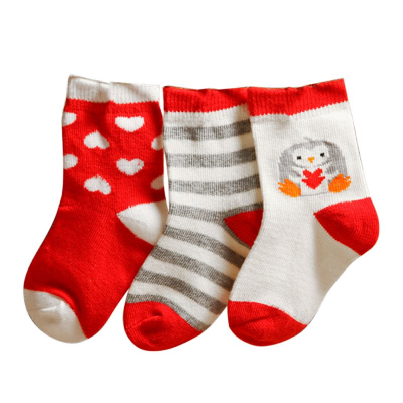 (3 Pairs/Set) Baby Boys Girls Cartoon Pattern Soft Cotton Non-slip Socks for 0-3Y ...