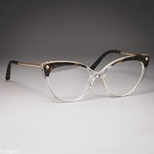 TR90 кошачий глаз оправа для очков женские трендовые заклепки стильные оптические модные компьютерные очки 45651