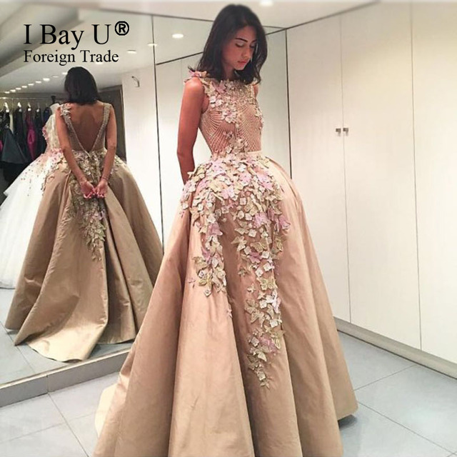 992f08e14e67b 3D Lace Flower Butterfly Appliques Prom Dresses 2017 Ball Gown Champagne Evening  Dresses Party Dress Arabic Dubai Evening Gowns