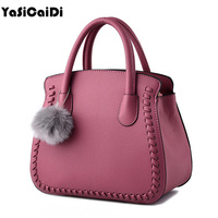 YASICAIDI Fashion Weave Women Casual Tote Bag High Quality Pu Leather Top Handle Bags Brand Large