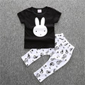 Little rabbit impressão o-pescoço T-shirt e calças de impressão novela Nova moda infantil roupas infantis bebê causal conjuntos de roupas