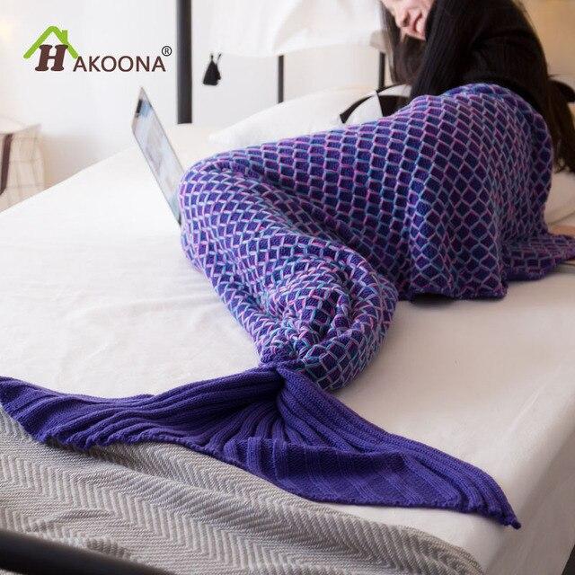 Hakoona Squame Di Pesce Forma Mermaid Tail Alluncinetto Coperte Di